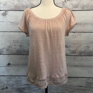 St Tropez West Linen Knit Peasant Top Crochet Trim